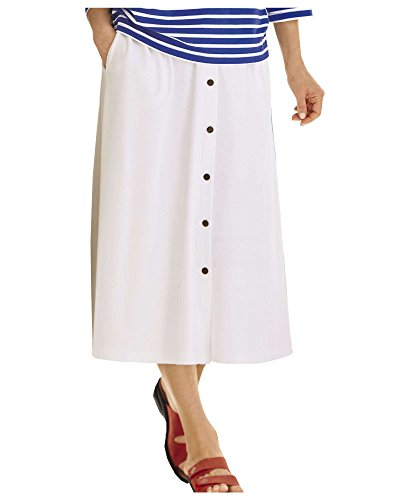 UltraSofts Fashion Knit Skirt, White, Petite Medium - Flat Front Petite Skirt