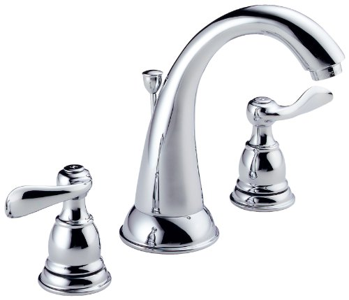 - Delta Faucet Windemere 2-Handle Widespread Bathroom Faucet with Metal Drain Assembly, Chrome B3596LF