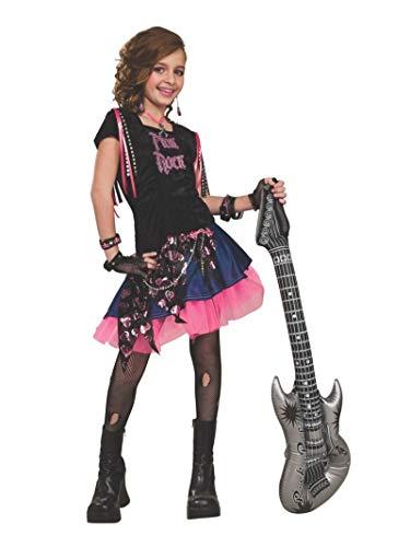 80s Singers Fancy Dress - Rubie's Pink Rock Girl Costume -