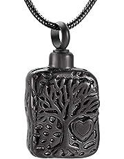 Fashion Pendant Memorial Pendant Necklace Cremation Jewelry Chain Ash Memorial Necklace Fashion Dog Tag Tree Engraved Pendant Necklace Memorial Urn Cemetery Ashes Souvenir 1