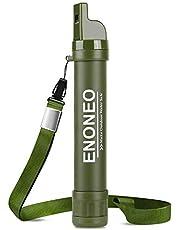 ENONEO Persoonlijke waterfilter stro 1500L 4 in 1 outdoor survival waterzuivering stro verwijderen 99,99% bacteriën en protozoa met fluitje, kompas, spiegel voor kamperen wandelen reizen noodgevallen groen