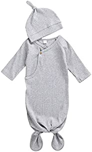 AmbabeOnline Baby Gown Newborn Cotton Nightgown Long Sleeve Ribbed Sleeping Bag+Hat Baby Boy Girl Coming Home