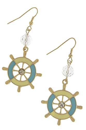 Resin Antique Ships Wheel (TRENDY FASHION JEWELRY LACQUERED SHIP WHEEL ACCENT EARRINGS BY FASHION DESTINATION | (Turquoise))