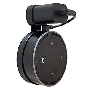 Dot Genie Affordable Essentials Outlet Wall Mount Hanger Stand for 2nd Gen Round Voice Assistants, A Space-Saving Solution for Your Smart Home Speakers Without Messy Wires or Screws (Black, 1-Pack)