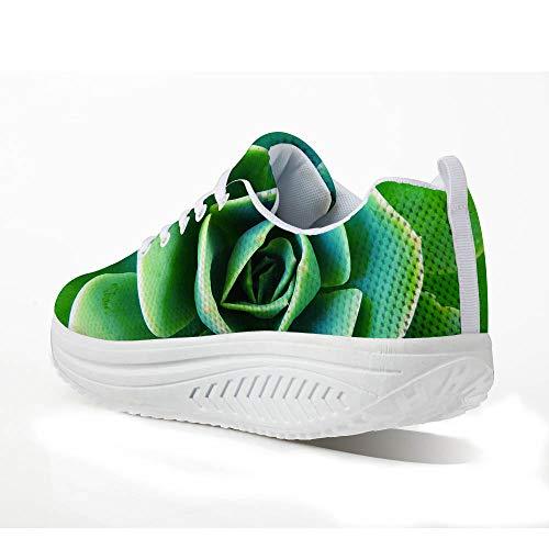FOR U DESIGNS Leisure Womens Swing Wedges Leisure Mesh Green Fleshy Fitness Jogging Sneakers US 7