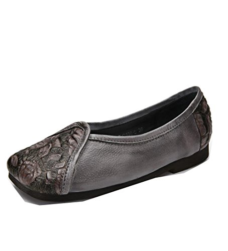 de Cuero ZFNYY Suaves Impresos Mujeres Zapatos Planos Retro a Mano Zapatos Hechos 8n8r6W0z