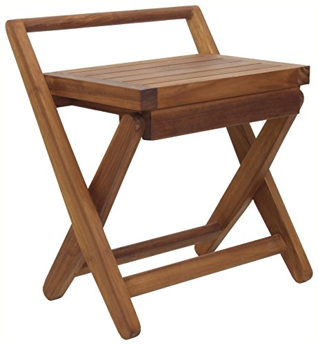 Teak Folding Stool - Spa Mantis Folding Teak Chair