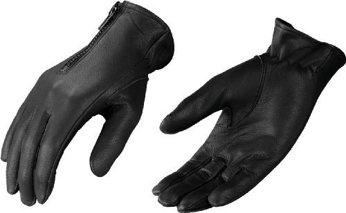 Black Leather Biker Gloves - 9