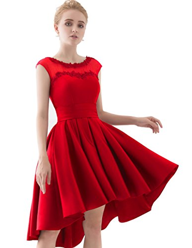 E8 Ball Cap (YORFORMALS Cap Sleeve A-Line Homecoming Dress Short Prom Gown Size 8 Red)