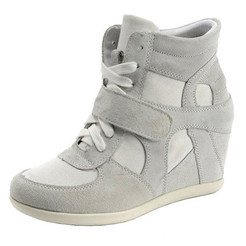 Suede Women's Wedge Formal amp;Loop Hook Grey Sneakers Leather Fashion Heel Hidden YCRdrYq