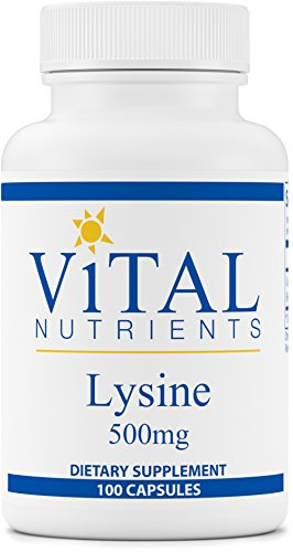 Vital Nutrients Lysine 500 mg Supports Immune Function and Normal Arginine Levels 100 Capsules