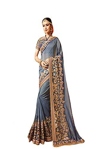 (Georgette Heavy Wedding Festival Saree Ceremony Zari Border Sari Indian Silk Blouse Formal Women Black Friday 7316)