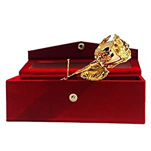 Nexxa 24k Gold Plated Natural Rose With Exclusive Red Velvet Box 63