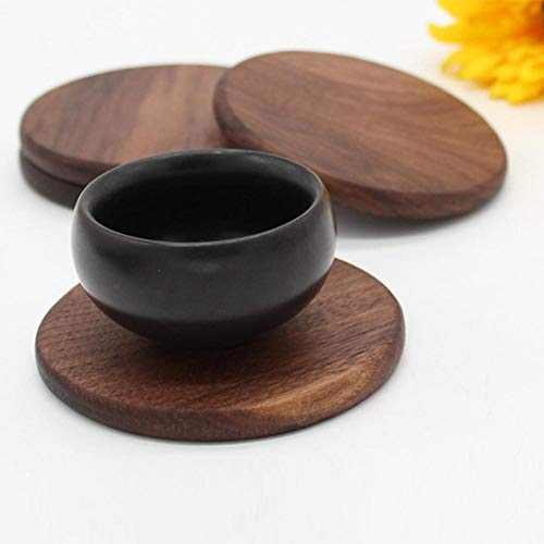 Shantan Heat Insulation Wooden Tea Coffee Cup 5pcs Coaster Ceremony Accessories Decor Walnut Square Thickening Placemat Coasters Holder Mat Pads for Drinks Beech Bowl Set Kitchen Pot Table Dish Trays (Set Desk Beech)