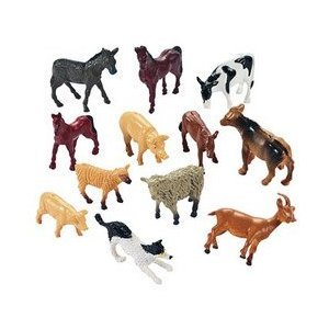 Fun Express Miniature Farm Animal Toy Figures - 12 Pieces