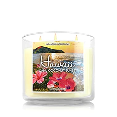 Bath and Body Works 14.5 Oz 3 Wick Candle Hawaii Oahu Coconut Sunset