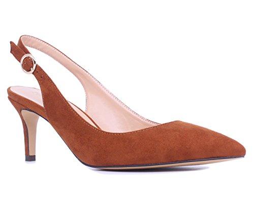 (SUNETEDANCE Women's Slingback Pumps Pointed Toe Kitten Heels Sandals Slip On Stiletto Mid Heels Shoes, Suede Tan, US7 B(M) US)