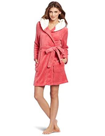 Dearfoams Women's Sherpa Lined Hooded Solid Robe, Rapture Rose, Small