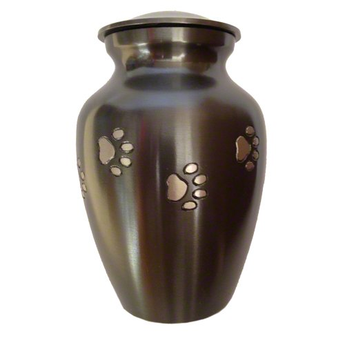 Classic-Series-Pet-Urn-Marine-Green-with-Vertical-Pewter-Paws