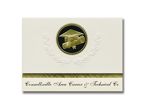 Signature Announcements Connellsville Area Career & Technical Ce (Connellsville, PA) Graduation Announcements, Presidential Elite Pack 25 Cap & Diploma Seal Black & Gold