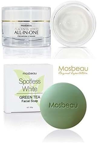 Set of Authentic Mosbeau (Placenta White All-in-one Facial Premium Cream +Spotless Green Tea Facial Soap)