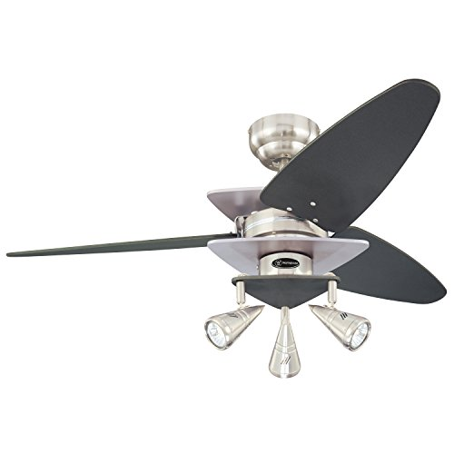 Westinghouse Lighting 7850700 Vector Elite Three-Light 42-Inch Reversible Three-Blade Indoor Ceiling Fan, Brushed Nickel and Graphite with Spotlights by Westinghouse