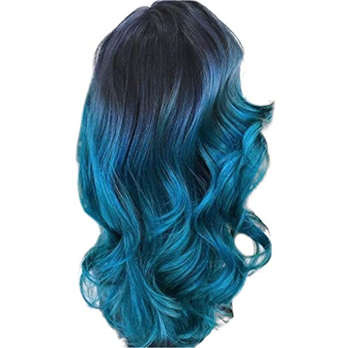 (Clearance! Women Long Wigs,Fashion Blue Curly Straight Wavy Synthetic Full Hair Cosplay Party Hairpiece (Blue))