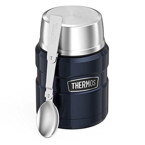 Thermos SK3000MBTRI4 Stainless King 16 Ounce Food Jar with Folding Spoon, Midnight Blue, 1,
