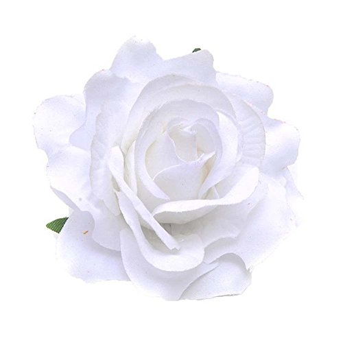 Lovefairy Beautiful Rose Flower Hair Clip Pin up Flower Brooch For Party Travel Festivals (White)