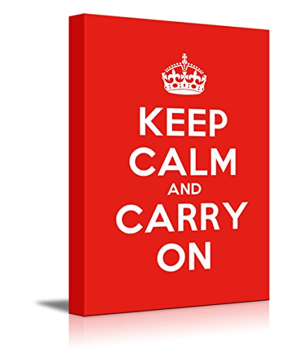Canvas Wall Art Gallery Wrap Canvas Prints - Keep Calm and Carry On | Stretched Red Canvas Home Decor Ready to Hang - 12