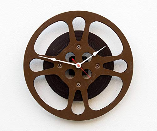 Reel Clock - Movie Reel Clock, recycled motion picture reel, movie lovers clock, theater clock, home movie clock, theater room clock
