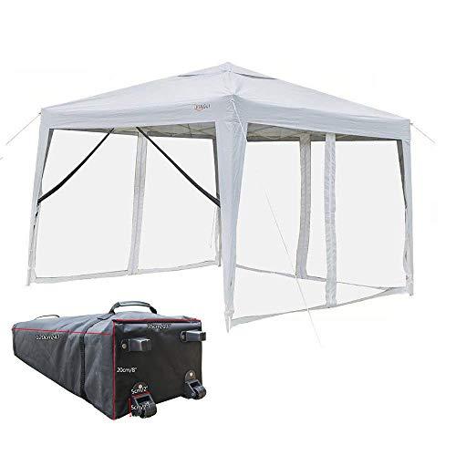 VINGLI 10' x 10' Mesh Sidewalls POP UP Tent, Anti-Mosquito Screen Canopy, Instant Setup Gazebos, 4 Translucent Sides Doors, Windproof Sturdier Frame, 99% Anti-UV, Heavy Duty Wheeled Carry Bag, White