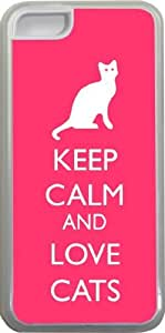 Rikki KnightTM Keep Calm and Love Cats Tropical Pink Color Design iPhone 5c Case Cover (Clear Rubber with bumper protection) for Apple iPhone 5c