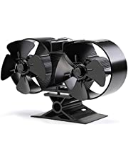 Heat Powered Stove Fan Blower, CRSURE Fireplace Fans for Log Burner Fans 8 Blades, Fire Stove Eco Fans for Wood Burning Stove, Woodburner Fans for Fireplaces&Stoves with Stove Thermometer (SF/T84)