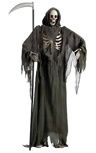 [Standing Reaper with Moving Jaw Halloween Prop Haunted House Decoration] (Halloween Animatronics)