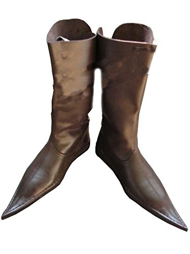0d48a3a445 Amazon.com : Medieval Leather Boots 3 Buckle Brown, Re-enactment ...
