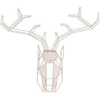 Kate and Laurel Orbie Geometric Metal Mounted Deer Head Wall Sculpture Art, Pink