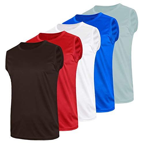 Pack of 5 Dry Fit Tank Tops for Men - Men's Performance Athletic Training Sleeveless Workout Shirts (Medium)