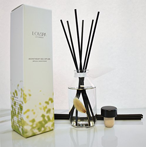 LOVSPA Clean Cotton Blossom Essential Oil Reed Sticks Diffuser Set | Airy Green Floral Powdery Woods, Sun Dried Linen & Mandarin Blossom by LOVSPA (Image #8)