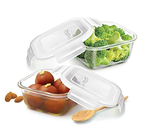 Treo By Milton Store Fresh Square Glass Storage Container Set of 2, 300 ml, Transparent Price & Reviews