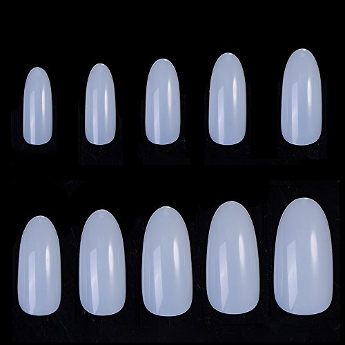 Sexy Mix Oval Talon Nails, Full Cover Nails false Natural Nail Tips 500pcs 10 Sizes Perfect Length for Manicure (Tips Curve Super Nail)