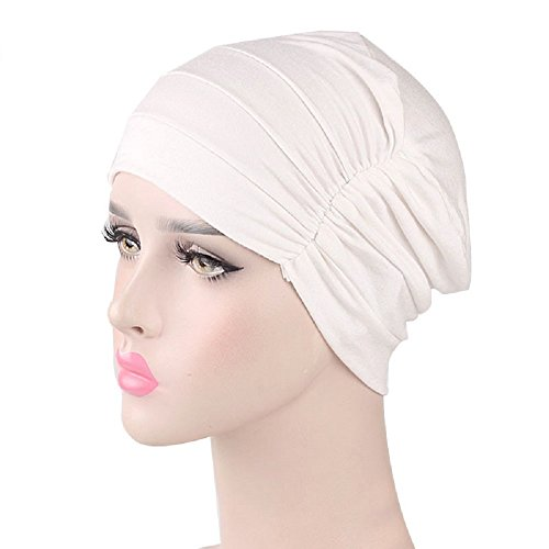 omyu Chemo Cap Cotton Sleep Turban Hat Liner Headcover for Cancer Hair Loss (White)