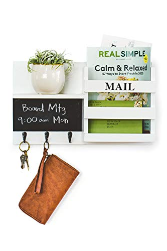 Key Holder For Wall Decorative Mail Organizer with 3 Key Hooks, Chalkboard, Key Organizer for Entryway, Hallway, Kitchen, Office – White Farmhouse Themed, Wall Mount Floating Shelf to Hang Accessories