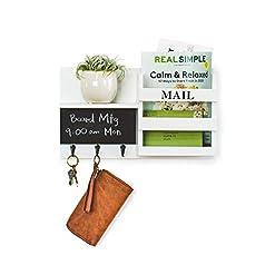 Entryway Key Holder For Wall Decorative Mail Organizer with 3 Key Hooks, Chalkboard, Key Organizer for Entryway, Hallway, Kitchen…