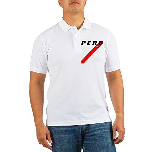 fan products of CafePress - PERU Soccer With Strip For White Shirt - Golf Shirt, Pique Knit Golf Polo