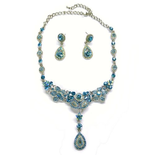 (Swarvoski Crystal Dangling Teardrop Lily Necklace & Matching Earring Set --Turquoise)