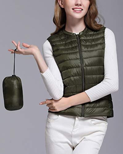 Army Giacche Green Senza Cappotto Piumino Packable Ultra Collo Leggero Rotondo Gilet Donna Maniche del gg7Oqwx5