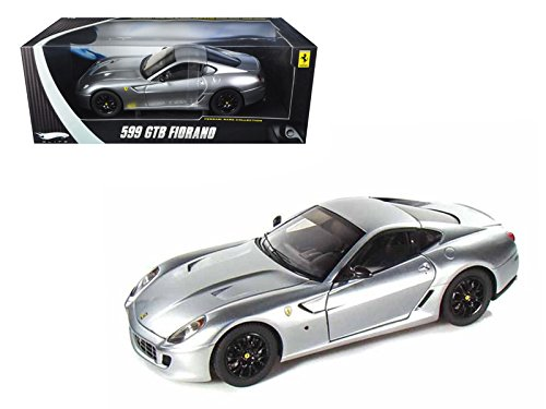 (Ferrari 599 GTB Fiorano Elite Edition Silver 1/18 Diecast Model Car by Hotwheels)