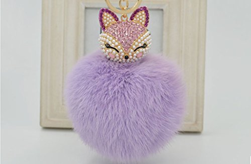 (Ideal Life Rabbit Fur Ball with Artificial Fox Head Inlay Pearl Rhinestone Key Chain for Womens Bag or Cellphone or Car Pendant)