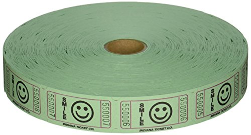 2000 Green Smile Single Roll Consecutively Numbered Raffle Tickets (Tickets)